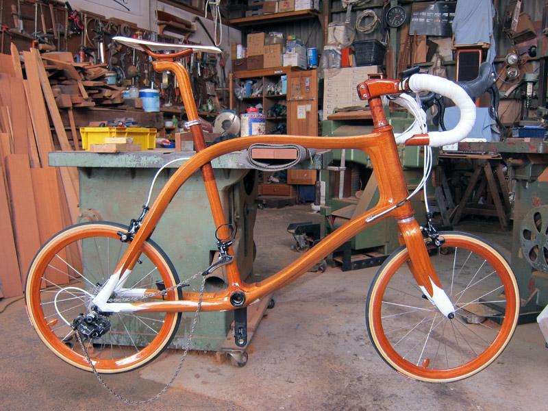 SANOMAGIC Wooden Bicycle, Mahogany Mini Wheel Bike