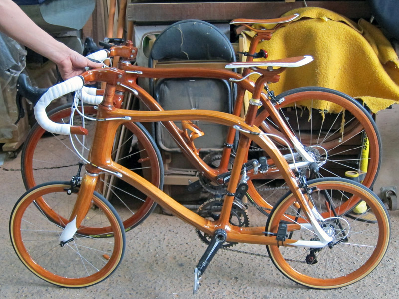 SANOMAGIC Wooden Bicycle, Mahogany Mini Wheel Bike 1