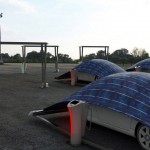 V-Tent Solar-panel Parking System, Covers and Charges Your Electric Car