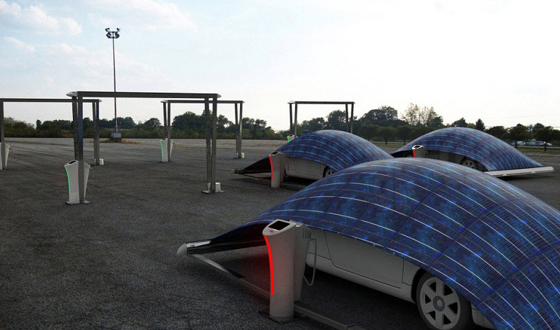 V Tent Solar panel Parking System, Covers and Charges Your Electric Car
