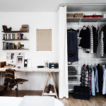Scandinavian Closet with Wire Shelving